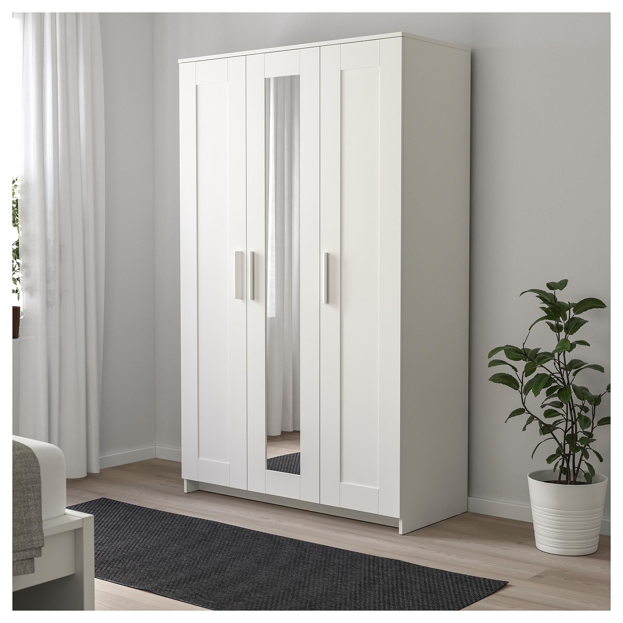 купить шкаф платяной 3 дверный бримнэс белый в икеа минск