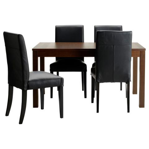 Стол и 4 стула БЬЮРСТА / ХЕНРИКСДАЛЬ черный артикуль № 091.296.64 в наличии. Интернет магазин IKEA РБ. Быстрая доставка и установка.