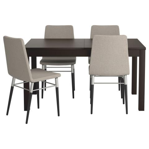 Стол и 4 стула БЬЮРСТА / ПРЕБЕН светло-серый артикуль № 599.173.15 в наличии. Онлайн магазин IKEA Минск. Недорогая доставка и установка.