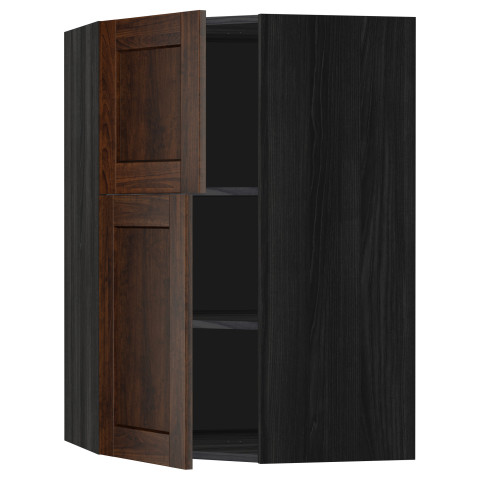 Угловой навесной шкаф + полки, 2 дверцы МЕТОД черный артикуль № 090.005.76 в наличии. Интернет магазин IKEA Беларусь. Недорогая доставка и установка.