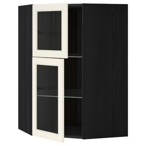 Угловой навесной шкаф + полки, 2 стеклянные дверцы МЕТОД черный артикуль № 790.555.65 в наличии. Интернет магазин IKEA РБ. Быстрая доставка и соборка.