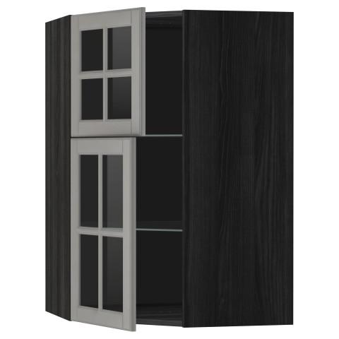 Угловой навесной шкаф + полки, 2 стеклянные дверцы МЕТОД черный артикуль № 890.006.57 в наличии. Онлайн магазин ИКЕА Беларусь. Недорогая доставка и установка.