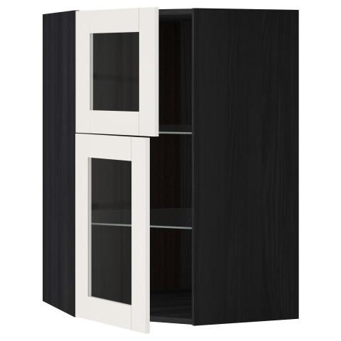 Угловой навесной шкаф + полки, 2 стеклянные дверцы МЕТОД белый артикуль № 890.648.28 в наличии. Онлайн каталог IKEA РБ. Недорогая доставка и соборка.