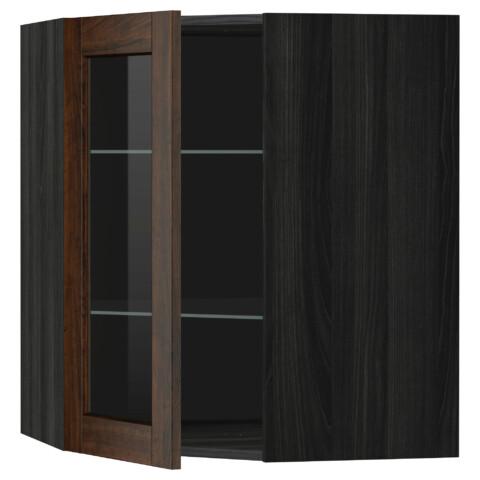 Угловой навесной шкаф с полками, стекляными дверцами МЕТОД черный артикуль № 099.191.71 в наличии. Онлайн магазин ИКЕА РБ. Быстрая доставка и соборка.