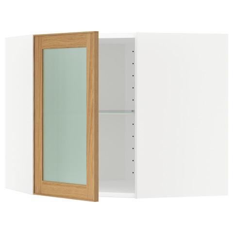Угловой навесной шкаф с полками, стекляными дверцами МЕТОД белый артикуль № 190.532.58 в наличии. Онлайн каталог IKEA Минск. Быстрая доставка и установка.
