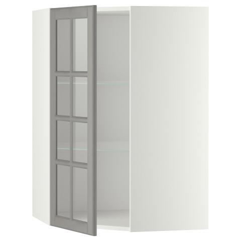 Угловой навесной шкаф с полками, стекляными дверцами МЕТОД серый артикуль № 199.187.03 в наличии. Онлайн магазин IKEA Беларусь. Недорогая доставка и соборка.