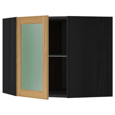 Угловой навесной шкаф с полками, стекляными дверцами МЕТОД черный артикуль № 390.549.83 в наличии. Интернет каталог IKEA РБ. Недорогая доставка и установка.