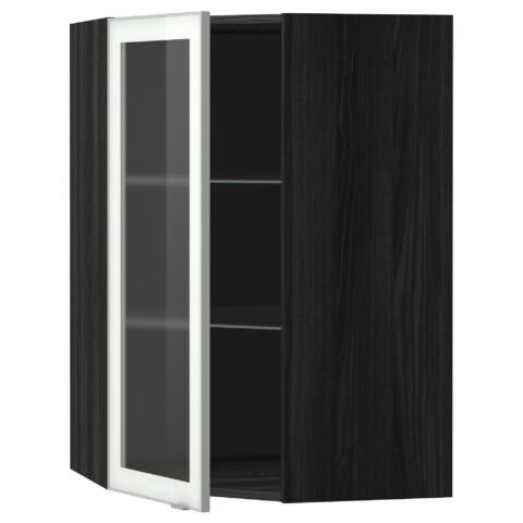 Угловой навесной шкаф с полками, стекляными дверцами МЕТОД черный артикуль № 599.198.71 в наличии. Интернет сайт IKEA Беларусь. Недорогая доставка и установка.