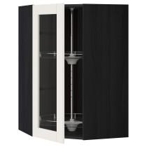 Угловой навесной шкаф с вращающающейся секцией, стеклянными дверцами МЕТОД черный артикуль № 090.648.13 в наличии. Онлайн каталог IKEA РБ. Недорогая доставка и соборка.