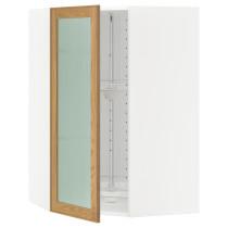 Угловой навесной шкаф с вращающающейся секцией, стеклянными дверцами МЕТОД белый артикуль № 490.532.66 в наличии. Интернет каталог ИКЕА РБ. Недорогая доставка и установка.