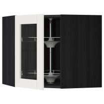 Угловой навесной шкаф с вращающающейся секцией, стеклянными дверцами МЕТОД черный артикуль № 490.650.90 в наличии. Онлайн каталог IKEA РБ. Быстрая доставка и установка.