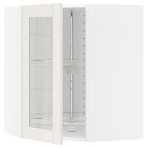 Угловой навесной шкаф с вращающающейся секцией, стеклянными дверцами МЕТОД белый артикуль № 790.641.45 в наличии. Интернет каталог IKEA Минск. Быстрая доставка и установка.