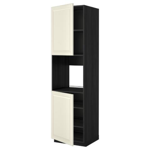 Высокий шкаф для духовки, 2 дверцы, полки МЕТОД черный артикуль № 090.277.31 в наличии. Онлайн сайт IKEA РБ. Быстрая доставка и установка.