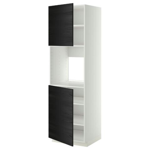 Высокий шкаф для духовки, 2 дверцы, полки МЕТОД черный артикуль № 390.276.97 в наличии. Online сайт IKEA Минск. Быстрая доставка и соборка.