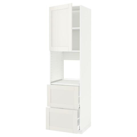 Высокий шкаф для духовки + дверца, 2 форнтальных, 2 высоких ящик МЕТОД / МАКСИМЕРА белый артикуль № 791.182.33 в наличии. Online каталог IKEA Минск. Быстрая доставка и установка.