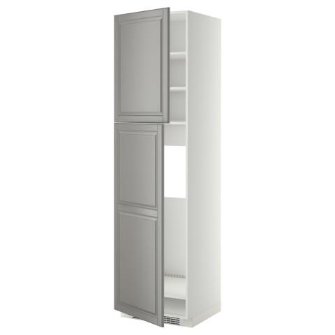 Высокий шкаф для холодильника, 2 дверцы МЕТОД серый артикуль № 399.256.65 в наличии. Online сайт ИКЕА Минск. Недорогая доставка и монтаж.