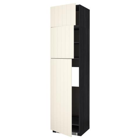 Высокий шкаф для холодильника, 3 дверцы МЕТОД черный артикуль № 190.555.92 в наличии. Интернет сайт IKEA Минск. Недорогая доставка и установка.