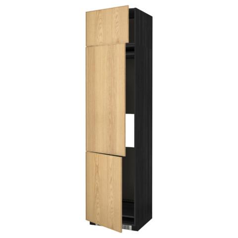 Высокий шкаф для холодильника или морозильника, с 3 дверями МЕТОД черный артикуль № 190.983.70 в наличии. Онлайн каталог ИКЕА Республика Беларусь. Недорогая доставка и установка.