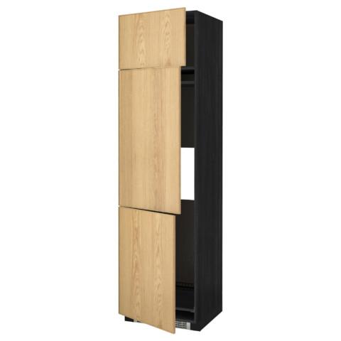 Высокий шкаф для холодильника или морозильника, с 3 дверями МЕТОД черный артикуль № 990.983.66 в наличии. Онлайн сайт IKEA Беларусь. Недорогая доставка и установка.