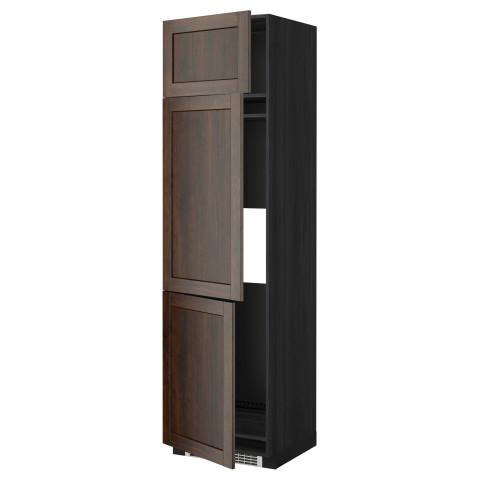 Высокий шкаф для холодильника или морозильника, с 3 дверями МЕТОД черный артикуль № 999.260.06 в наличии. Интернет магазин IKEA Республика Беларусь. Недорогая доставка и установка.