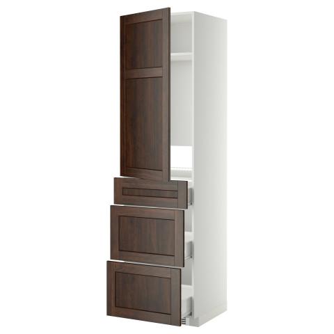 Высокий шкаф для холодильника, с дверцами, 3 ящика МЕТОД / ФОРВАРА белый артикуль № 099.260.39 в наличии. Онлайн сайт ИКЕА Республика Беларусь. Недорогая доставка и установка.