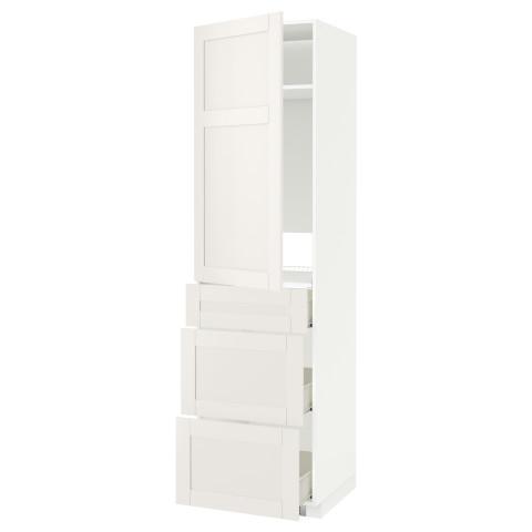 Высокий шкаф для холодильника, с дверцами, 3 ящика МЕТОД / ФОРВАРА белый артикуль № 590.637.26 в наличии. Онлайн каталог IKEA Минск. Недорогая доставка и соборка.