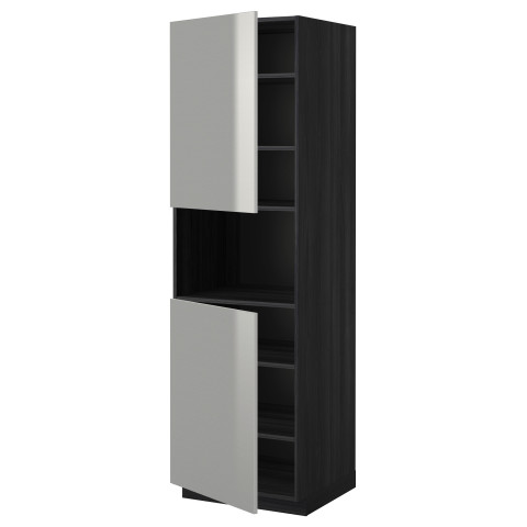 Высокий шкаф для/СВЧ, 2 дверцы, полки МЕТОД черный артикуль № 190.285.32 в наличии. Онлайн магазин IKEA Минск. Недорогая доставка и соборка.