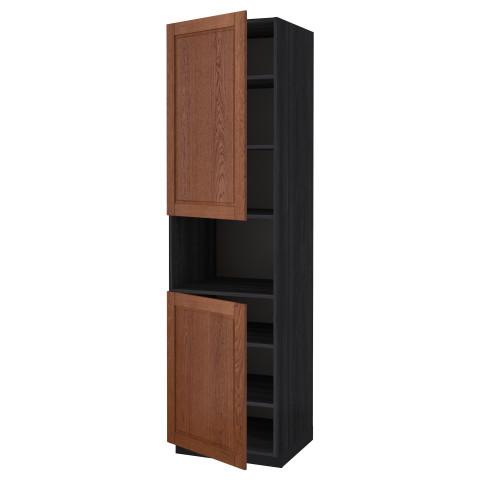 Высокий шкаф для/СВЧ, 2 дверцы, полки МЕТОД черный артикуль № 890.527.45 в наличии. Online магазин IKEA Беларусь. Быстрая доставка и установка.