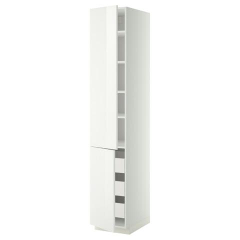 Высокий шкаф + полки, 3 ящика, 2 дверцы МЕТОД / ФОРВАРА белый артикуль № 599.212.42 в наличии. Онлайн сайт ИКЕА РБ. Недорогая доставка и установка.