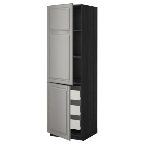 Высокий шкаф + полки, 3 ящика, 2 дверцы МЕТОД / ФОРВАРА черный артикуль № 599.223.69 в наличии. Online сайт IKEA РБ. Недорогая доставка и соборка.