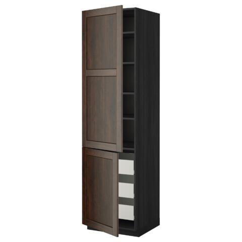 Высокий шкаф + полки, 3 ящика, 2 дверцы МЕТОД / ФОРВАРА черный артикуль № 799.219.91 в наличии. Онлайн сайт IKEA Минск. Быстрая доставка и монтаж.