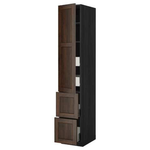 Высокий шкаф + полки, 4 ящика, 2 дверцы МЕТОД / ФОРВАРА черный артикуль № 299.219.79 в наличии. Интернет каталог IKEA РБ. Недорогая доставка и соборка.