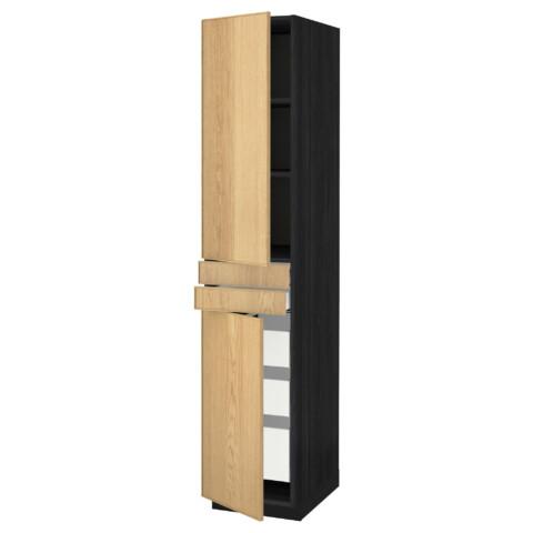 Высокий шкаф + полки, 5 ящиков, 2 дверцы, 2 фронтальных МЕТОД / МАКСИМЕРА черный артикуль № 191.178.06 в наличии. Онлайн каталог IKEA Беларусь. Быстрая доставка и установка.