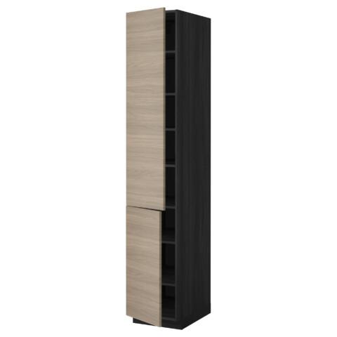 Высокий шкаф с полками, 2 дверцы МЕТОД черный артикуль № 199.217.53 в наличии. Интернет каталог IKEA Беларусь. Недорогая доставка и установка.