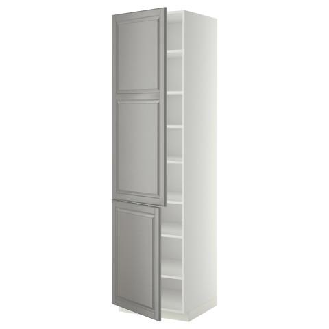 Высокий шкаф с полками, 2 дверцы МЕТОД серый артикуль № 599.223.50 в наличии. Online магазин IKEA РБ. Быстрая доставка и установка.