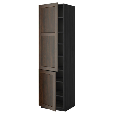 Высокий шкаф с полками, 2 дверцы МЕТОД черный артикуль № 799.219.67 в наличии. Интернет сайт ИКЕА РБ. Недорогая доставка и установка.