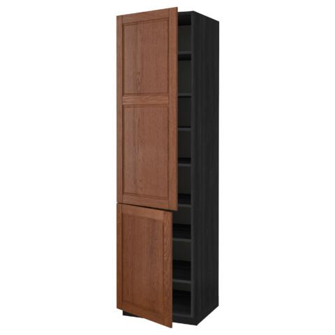 Высокий шкаф с полками, 2 дверцы МЕТОД черный артикуль № 990.527.21 в наличии. Интернет каталог ИКЕА РБ. Быстрая доставка и установка.