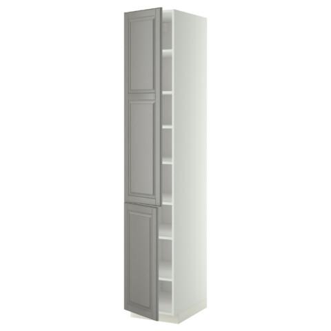 Высокий шкаф с полками, 2 дверцы МЕТОД серый артикуль № 999.223.48 в наличии. Online сайт IKEA Беларусь. Быстрая доставка и установка.