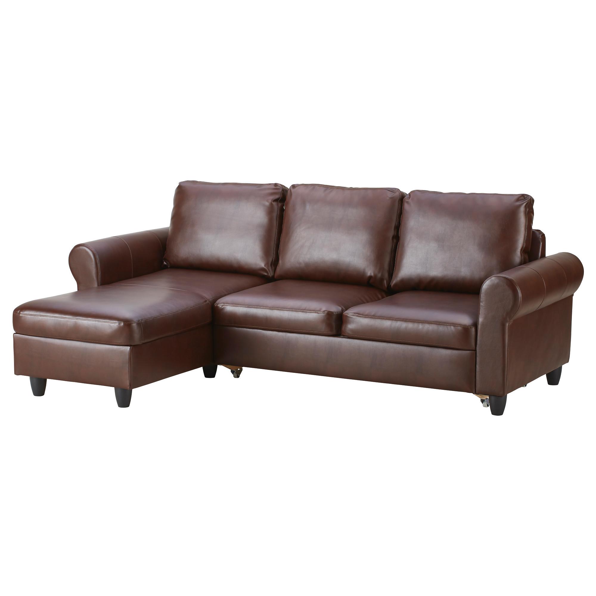купить диван кровать с козеткой фиксхульт раггиг темно коричневый