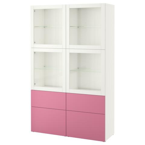 Комбинация для хранения со стеклянными дверцами БЕСТО розовый артикуль № 290.900.24 в наличии. Онлайн каталог IKEA РБ. Недорогая доставка и соборка.