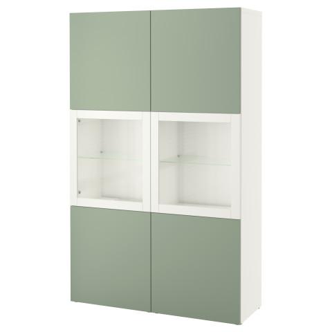 Комбинация для хранения со стеклянными дверцами БЕСТО зеленый артикуль № 490.594.47 в наличии. Online магазин IKEA Беларусь. Быстрая доставка и установка.