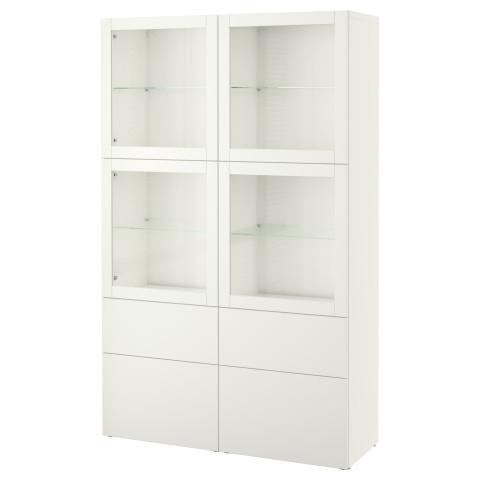 Комбинация для хранения со стеклянными дверцами БЕСТО артикуль № 490.900.18 в наличии. Онлайн сайт IKEA Беларусь. Быстрая доставка и соборка.