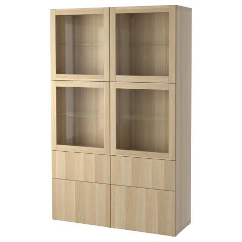 Комбинация для хранения со стеклянными дверцами БЕСТО артикуль № 490.901.36 в наличии. Интернет магазин ИКЕА Беларусь. Недорогая доставка и установка.