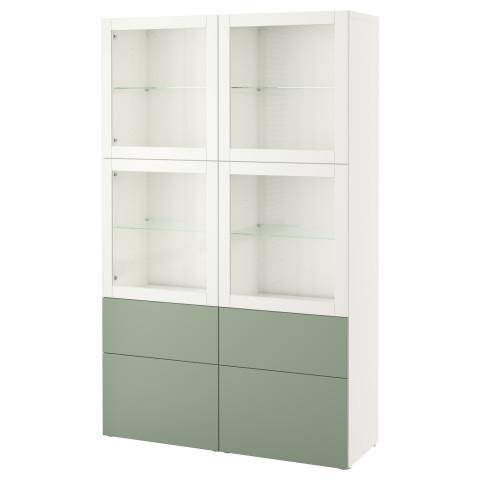 Комбинация для хранения со стеклянными дверцами БЕСТО зеленый артикуль № 590.900.27 в наличии. Интернет каталог IKEA Минск. Недорогая доставка и установка.