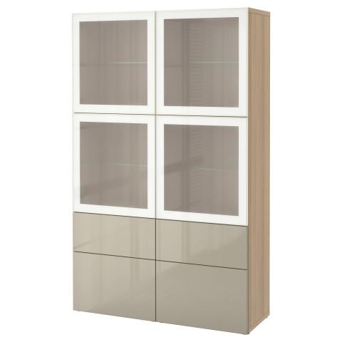Комбинация для хранения со стеклянными дверцами БЕСТО артикуль № 890.900.64 в наличии. Онлайн сайт IKEA Минск. Быстрая доставка и установка.