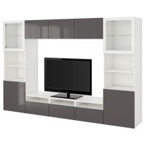 Шкаф для ТВ, комбинированный, стекляные дверцы БЕСТО белый артикуль № 290.815.38 в наличии. Онлайн каталог IKEA РБ. Недорогая доставка и монтаж.