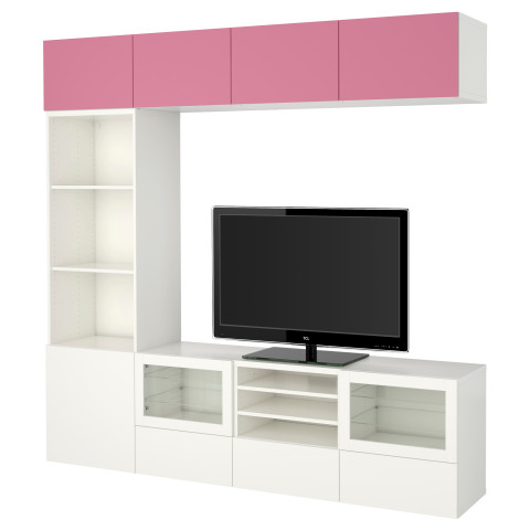 Шкаф для ТВ, комбинированный, стекляные дверцы БЕСТО розовый артикуль № 290.859.80 в наличии. Онлайн сайт IKEA РБ. Недорогая доставка и установка.