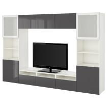 Шкаф для ТВ, комбинированный, стекляные дверцы БЕСТО белый артикуль № 390.741.13 в наличии. Интернет сайт IKEA Минск. Недорогая доставка и монтаж.