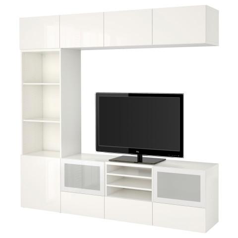 Шкаф для ТВ, комбинированный, стекляные дверцы БЕСТО белый артикуль № 590.858.65 в наличии. Онлайн сайт IKEA Минск. Недорогая доставка и соборка.