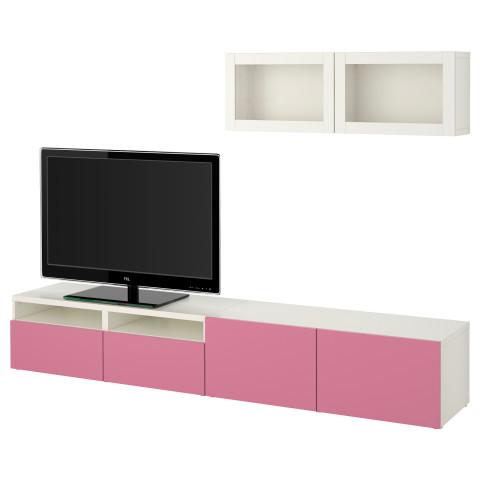 Шкаф для ТВ, комбинированный, стекляные дверцы БЕСТО розовый артикуль № 790.711.22 в наличии. Интернет сайт IKEA Республика Беларусь. Недорогая доставка и установка.